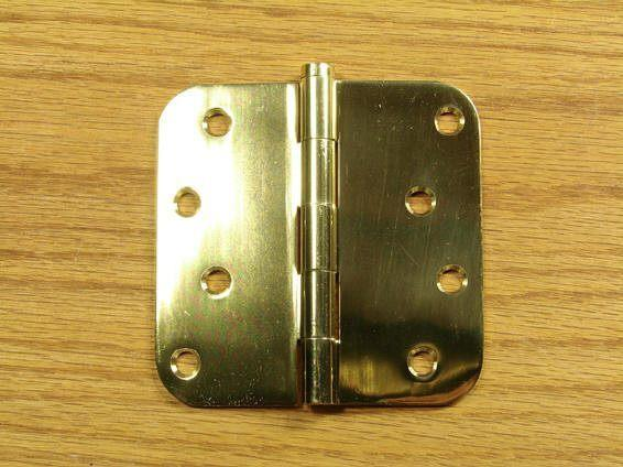 "Polished Brass Finish Hinges Solid Brass 4"" x 4""  with 5/8"" radius corners - Sold in Pairs"