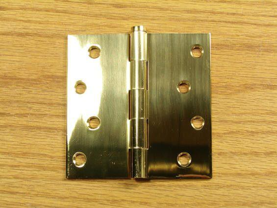 "Polished Brass Finish Hinges Solid Brass 4"" x 4"" with Square Corners - Sold in Pairs"