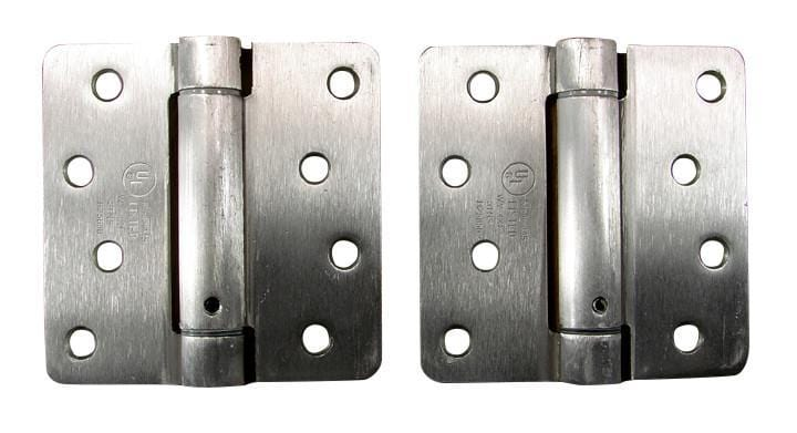 "4"" x 4"" Spring Hinges with 1/4"" radius corners Satin Nickel - 2 Pack"