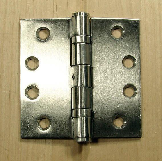 "Stainless Steel Ball Bearing Hinges Commercial Hinge - 4"" x 4"" Square Corner - Sold in Pairs"