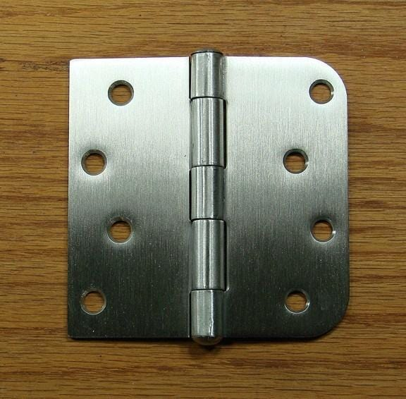 "Stainless Steel Hinges 4"" x 4""  Plain Bearing Hinge Square Corner with 5/8"" Radius Corner - Sold in Pairs - Stainless Steel Hinges"