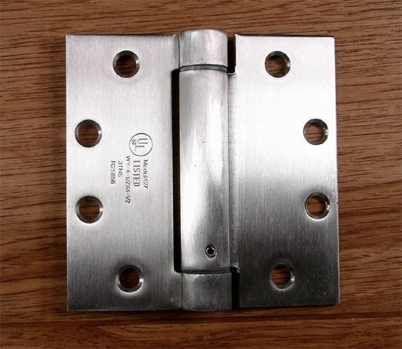 "Commercial Stainless Steel Spring Hinges - 4 1/2"" Square - 2 Pack"