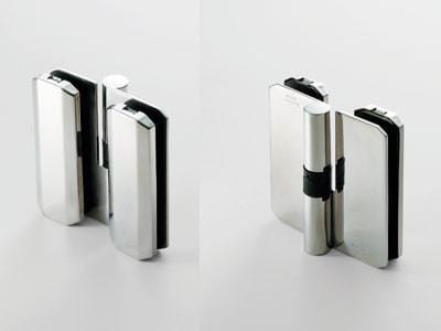 Glass Shower Door Hinges - Self Closing - Stainless Steel - SUGATSUNE - 2 Pack
