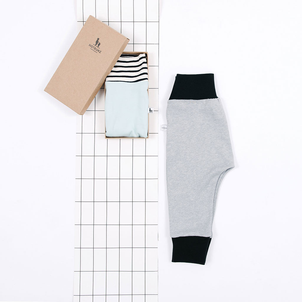 flatlay of baby pants gift set for boys