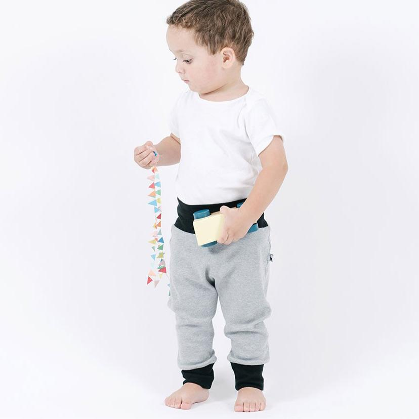 toddler in grey go-to pants