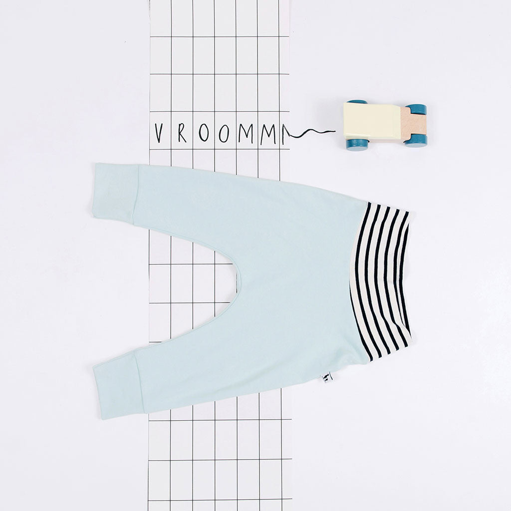 flat lay of light blue baby pants