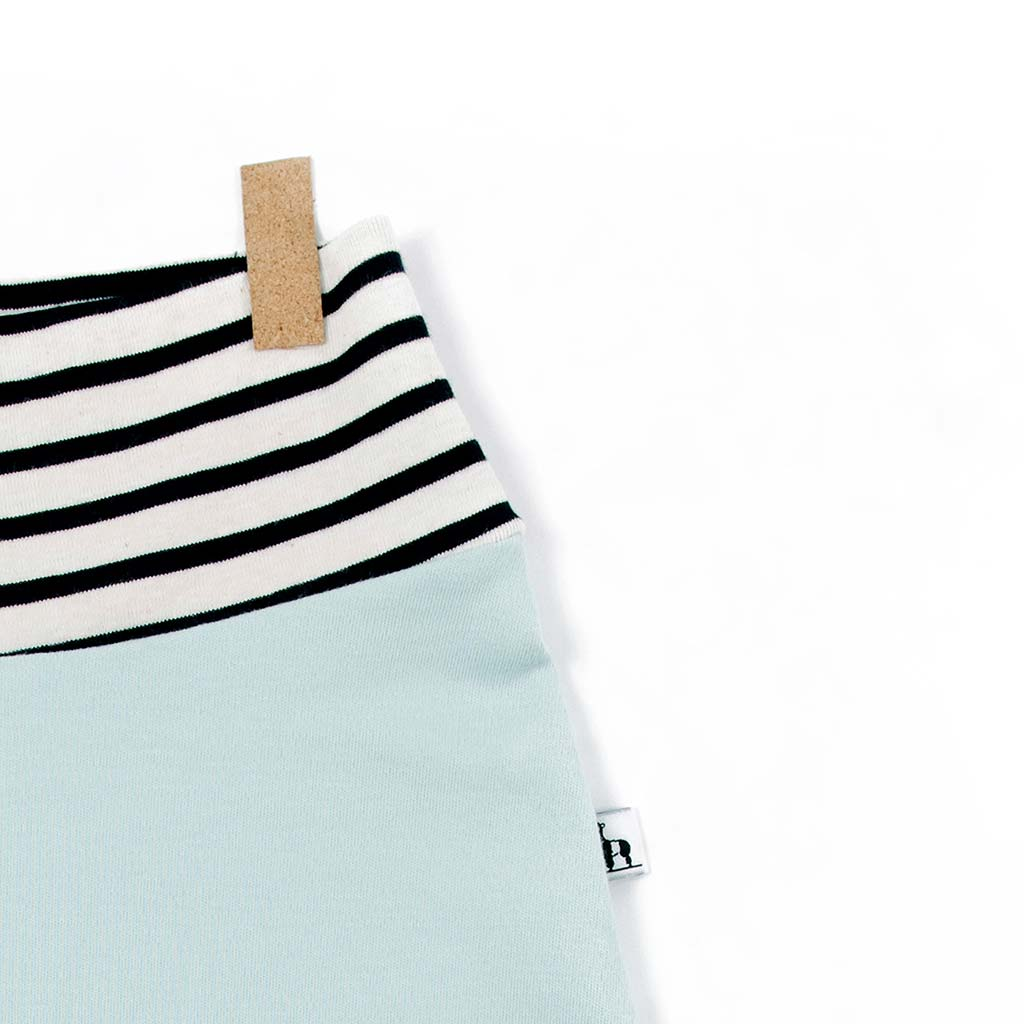 close-up of light blue and stripes baby pants