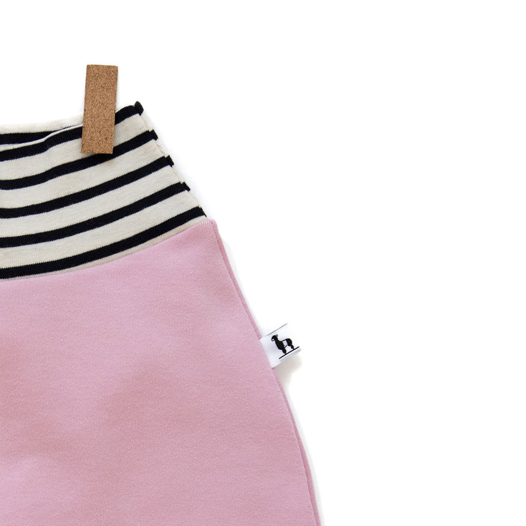 close-up of pink and stripes baby pants