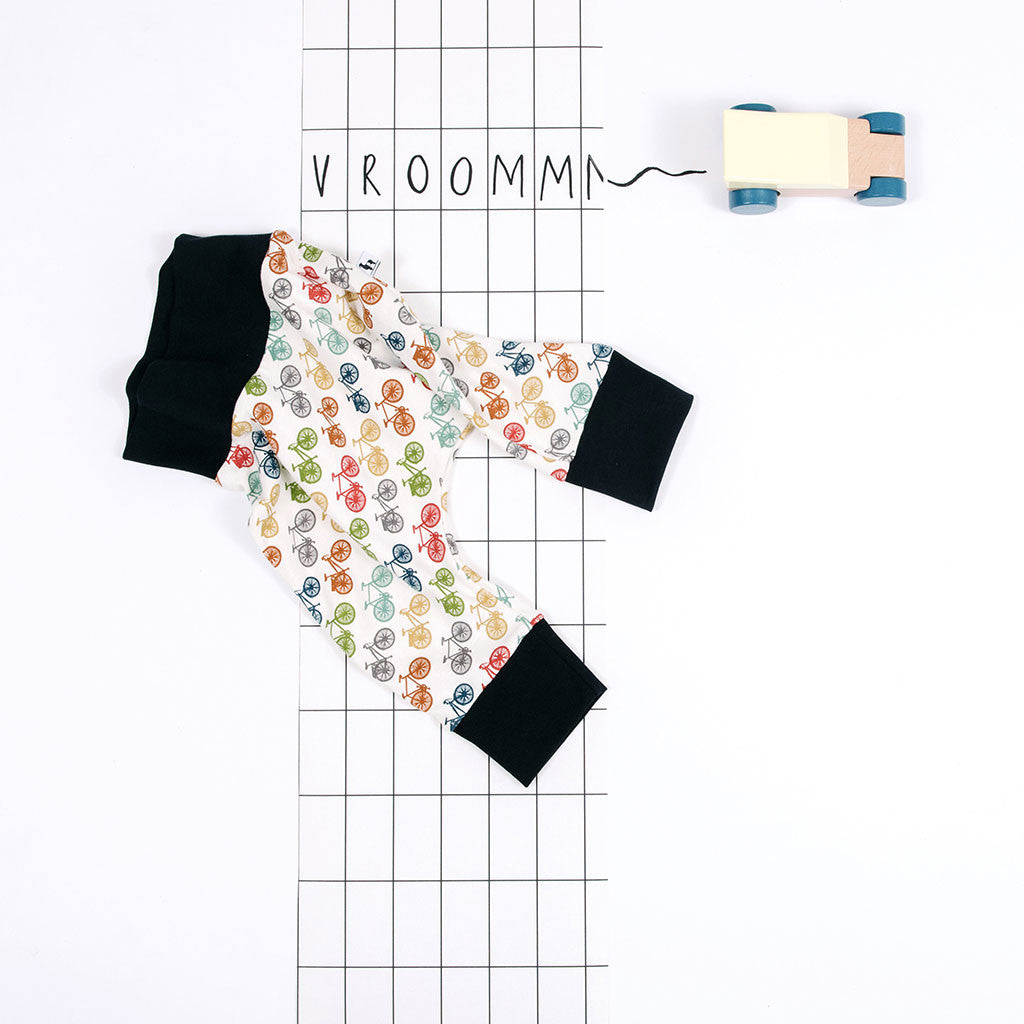 flat lay of multicolored organic baby pants