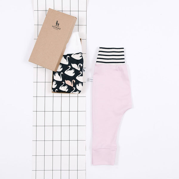 flat lay of baby pants gift set