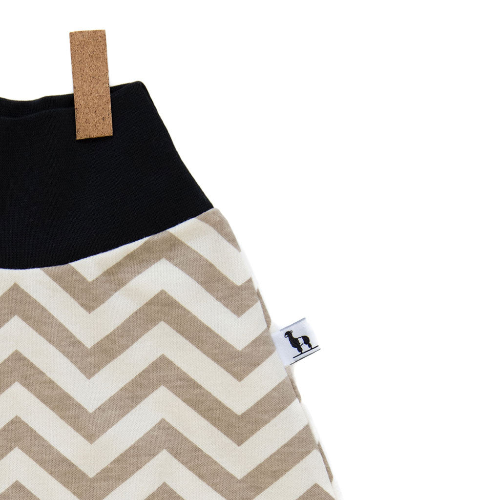 close-up of chevron baby pants with black waistband