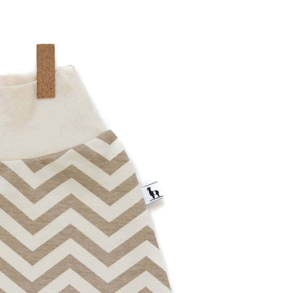 close-up of chevron baby pants with white waistband