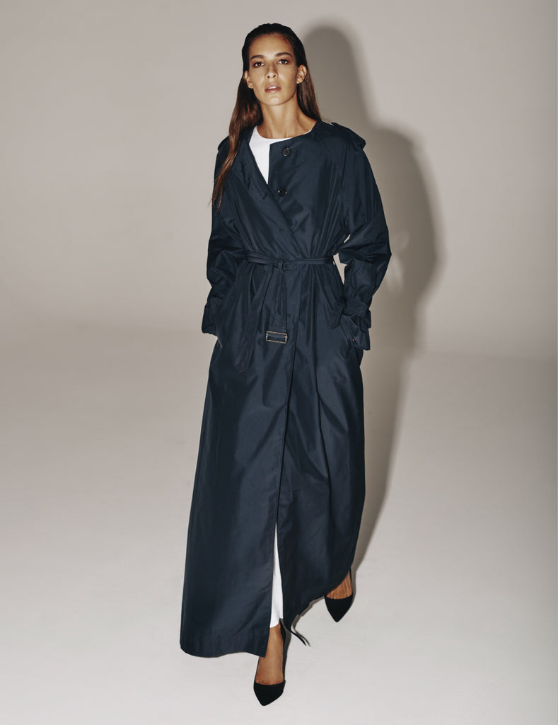Jillian Maxi Coat-Navy 50% OFF