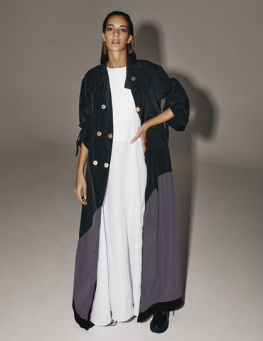 Trench Maxi Coat Grey- 50% OFF
