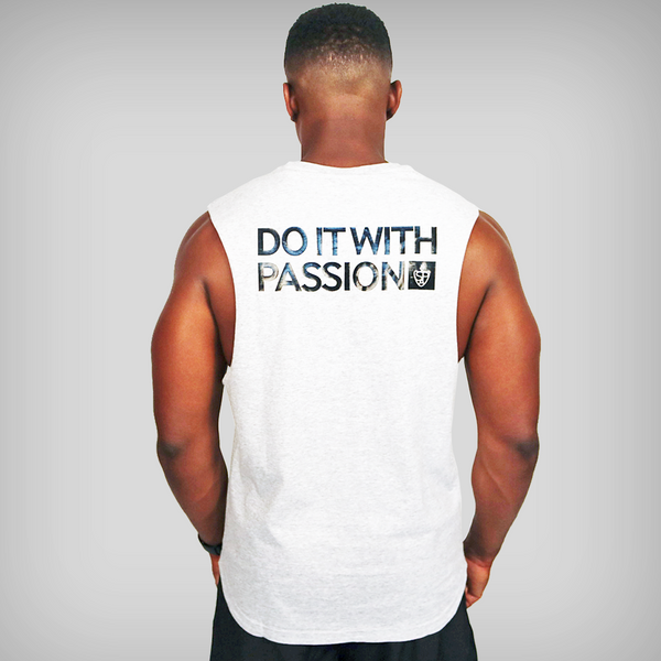 SP Aesthetics 'Do It With Passion' Sleeveless T-Shirt - Grey / Black