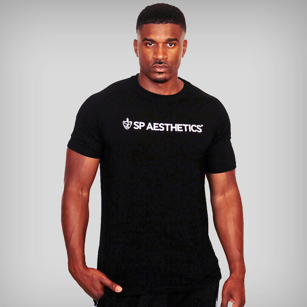 SP Aesthetics Logo Mesh Panel T-Shirt - Black / White