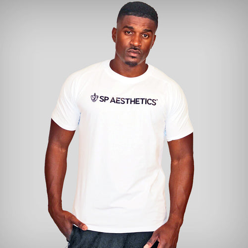 SP Aesthetics Logo Mesh Panel T-Shirt - White / Black