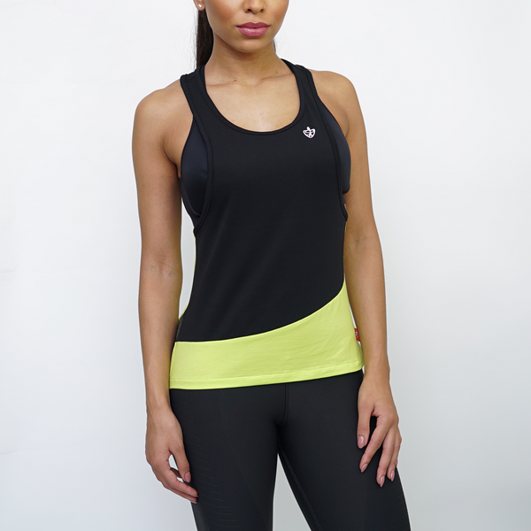 SP Aesthetics Women's Tri-Fit Training Vest - Black / Neon Yellow