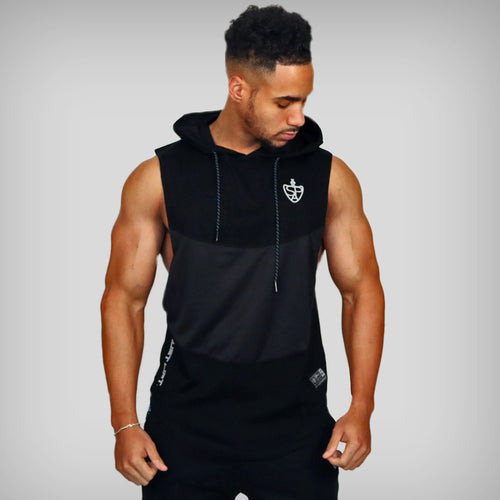 JUST LIFT Sleeveless Hoodie - Black/Grey