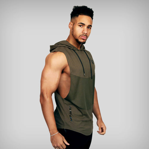 JUST LIFT Sleeveless Hoodie - Green/Black
