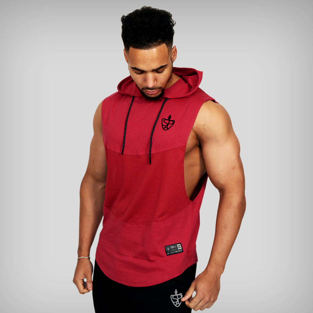 JUST LIFT Sleeveless Hoodie - Redcurrant /Black