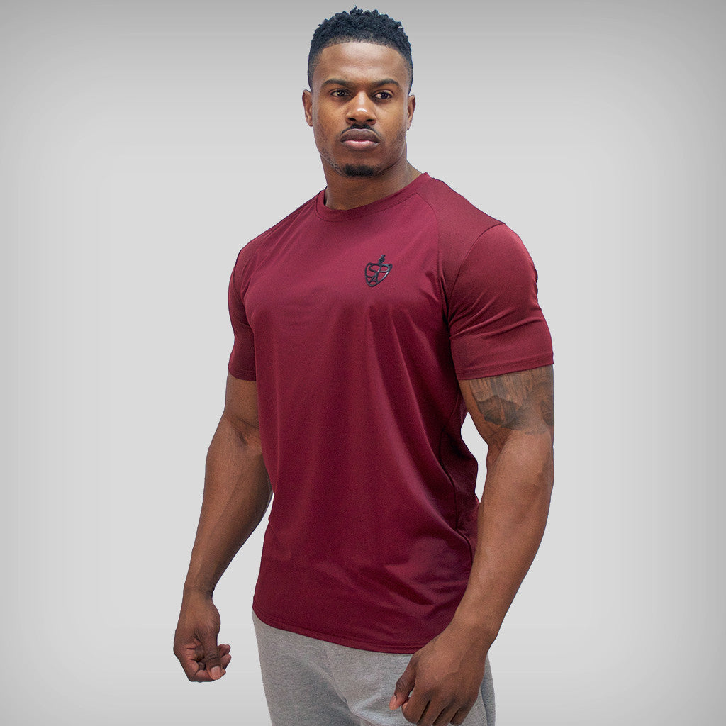 SP Aesthetics 'Performance' Training T-Shirt - Maroon / Black