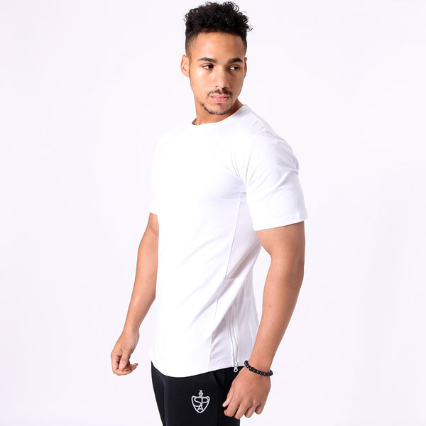 SP Aesthetics Drop Zip Lifestyle T-Shirt (v2) - White / White
