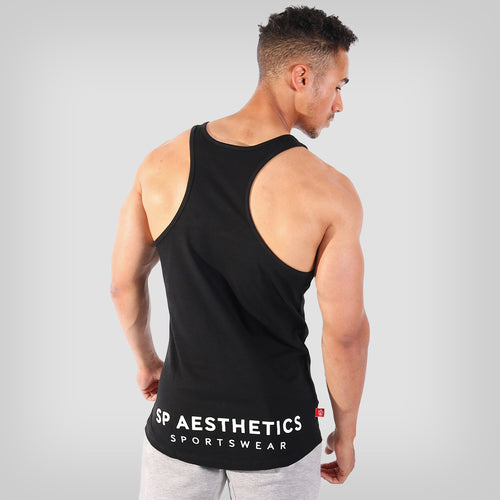 SP Aesthetics 'Hardcore Emblem' Men's Stringer Vest - Black/White
