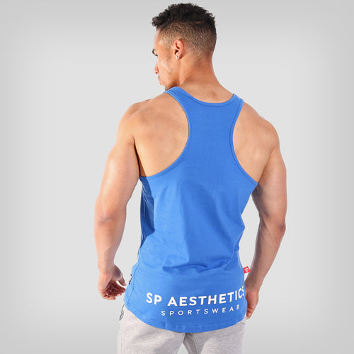 SP Aesthetics 'Hardcore Emblem' Men's Stringer Vest - Blue/White