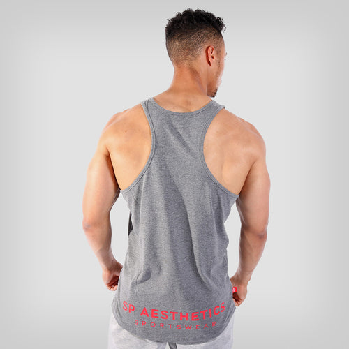SP Aesthetics 'Hardcore Emblem' Men's Stringer Vest - Dark Grey/Red