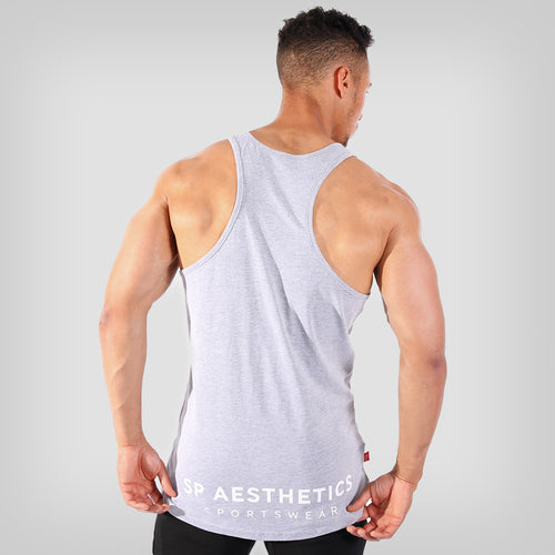 SP Aesthetics 'Hardcore Emblem' Men's Stringer Vest - Grey/White