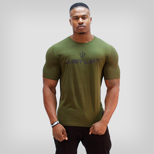 SP Aesthetics 'JUST LIFT' HyperFit T-Shirt - Army Green / Black