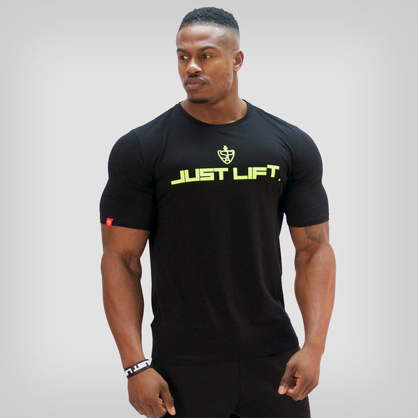SP Aesthetics 'JUST LIFT' HyperFit T-Shirt - Black / Neon Green