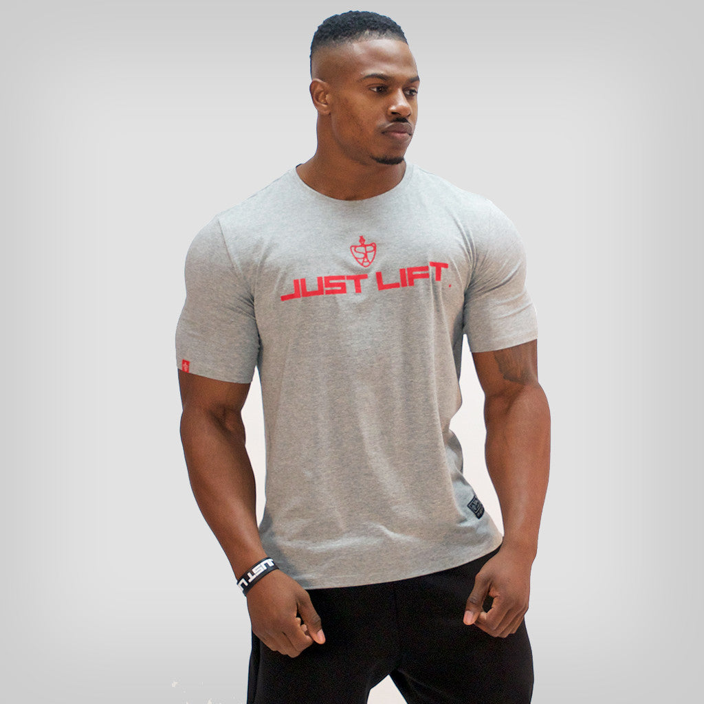 SP Aesthetics 'JUST LIFT' HyperFit T-Shirt – Light Grey/Red