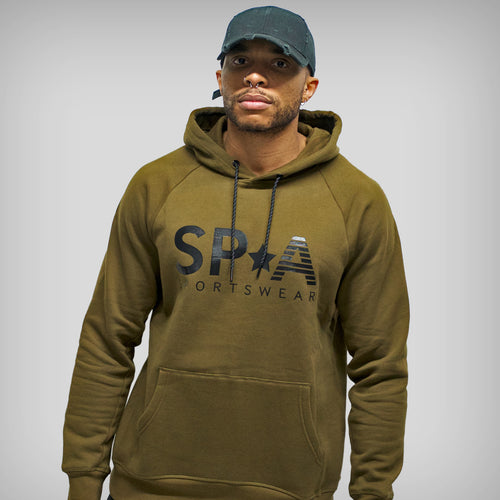 SP Aesthetics 'SP*A' Pullover Hoodie - Khaki Green / Black