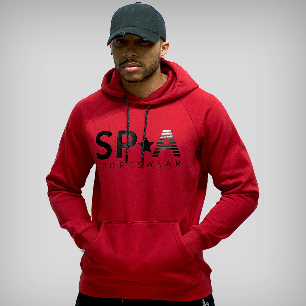 SP Aesthetics 'SP*A' Pullover Hoodie - Maroon Red / Black