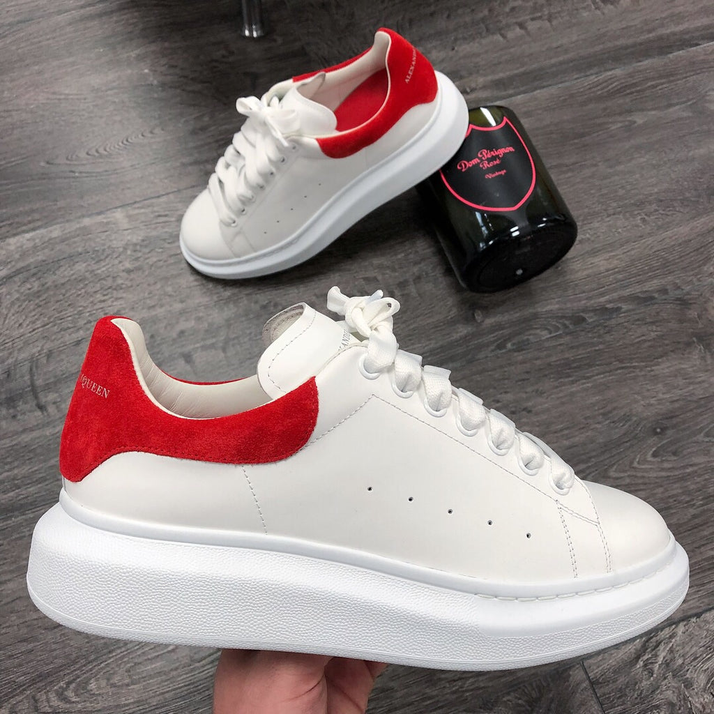 ALEXANDER MCQUEEN WHITE/RED SUEDE MENS