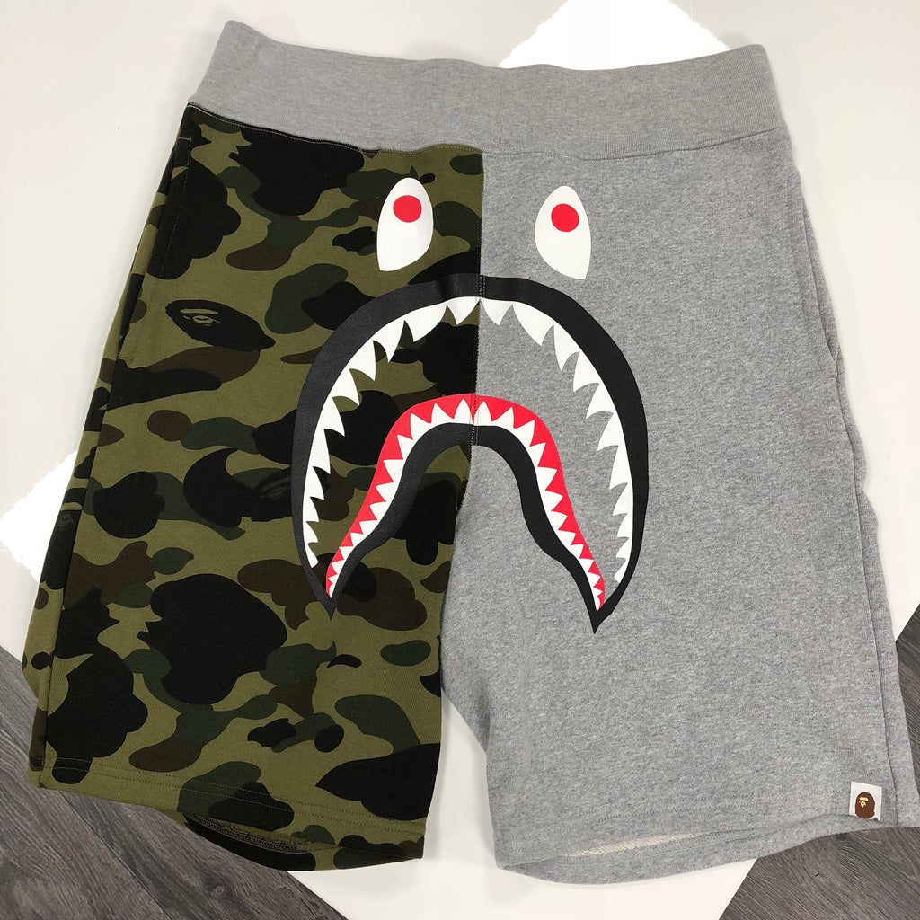 BAPE SHARK SHORTS GREY/CAMO MENS