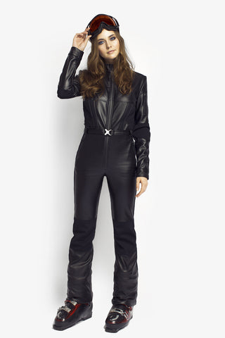 All in one ski suit Black Widow Slim Fit Black PU Leather front view
