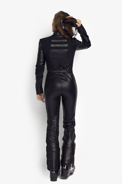 All in one ski suit Black Widow Slim Fit Black PU Leather back view