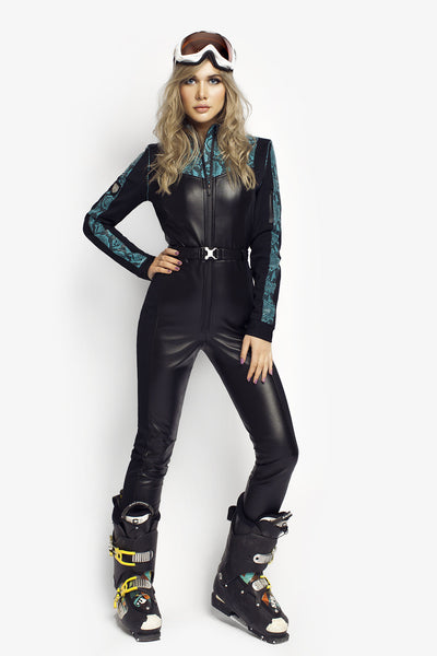 Turquoise Love Slim Fit Black Ski Suit front view