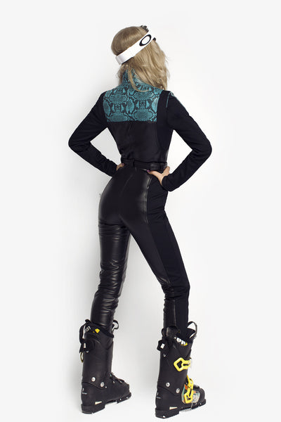 Turquoise Love Slim Fit Black Ski Suit back view