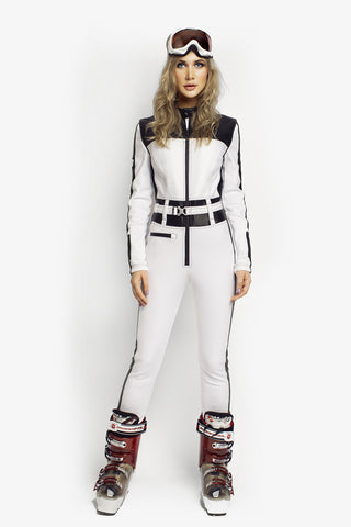 Ski Suit Racer Slim Fit White/Black PU leather front view