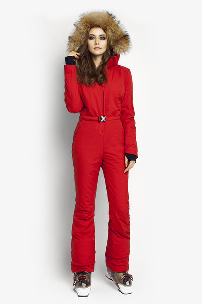 Ski fashion suit Classic Perfomance fit onesies red front view