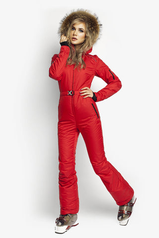 All in one ski suit Classic Perfomance fit apparel red attivo front view