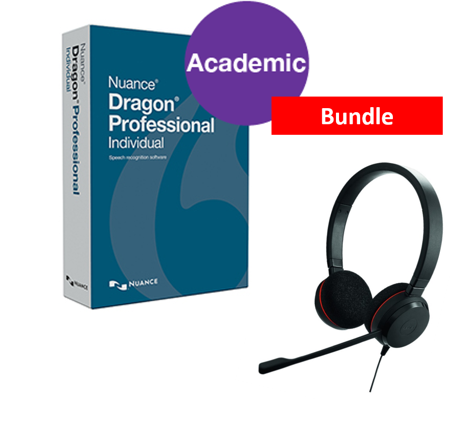Dragon Professional v15 Individual Academic with Jabra Evolve 20 UC Binaural USB Headset. Download only.