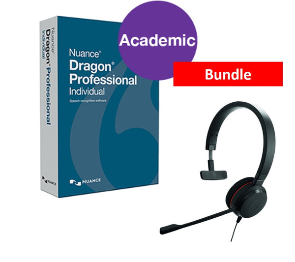 Dragon Professional v15 Individual Academic with Jabra Evolve 20 UC Mono USB Headset. Download only.