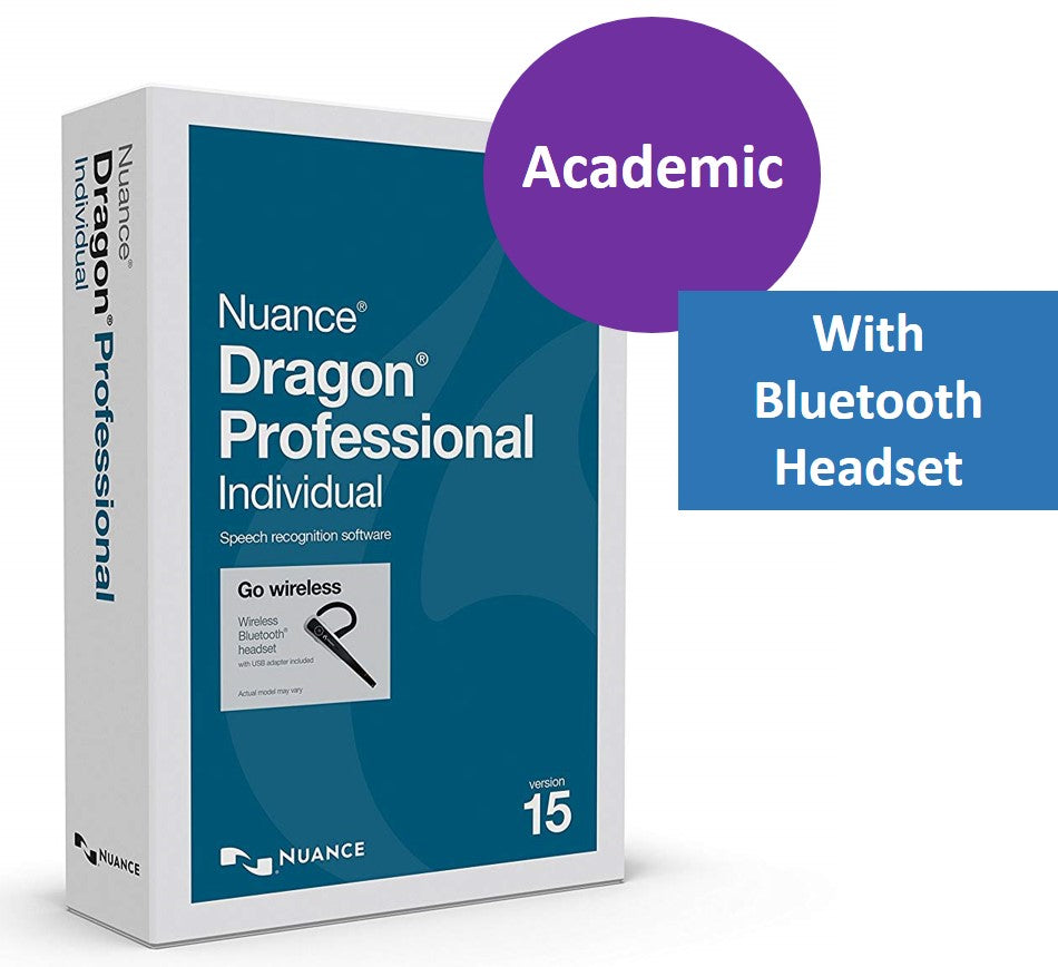 Dragon Professional v15 Individual Academic with Bluetooth Headset