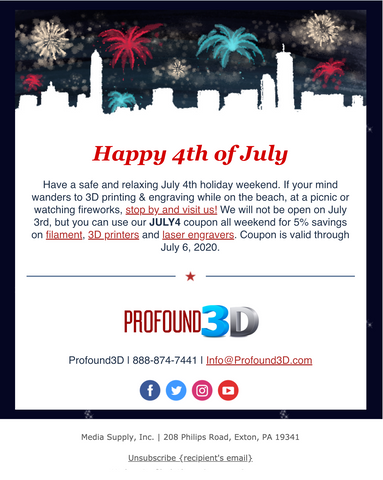 July 4th Sale from Profound 3D
