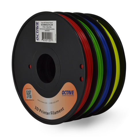 Octave Rainbow PLA Filament 1.75mm 1.33kg (2.94lbs) 4 Color Red-Green-Blue-Yellow Spool
